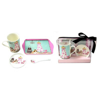 Beautiful Life Tea Mug, Coaster, Spoon & Melamine Tray Gift Set Box