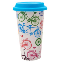 Porcelain Eco Mug eCup Double Insulated Bike Bicylce White