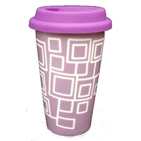 Porcelain Eco Mug Cup Double Insulated Laser Cut Purple Square