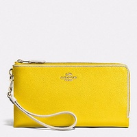 Coach Double ZIP Wallet in Colorblock Leather F53080 LIDZZ Yellow NEW WITH TAG