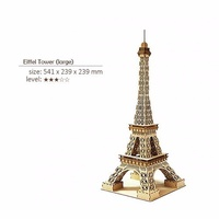 ki-gu-mi Plywood JIGZLE EIFFEL TOWER LARGE Paris Puzzle Kigumi Wooden Art 3D