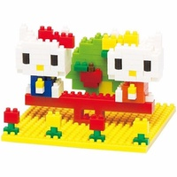 Nanoblock Mini Hello Kitty and Mimmy Nakayoshi Park Kawada NBH 056 NEW IN BOX