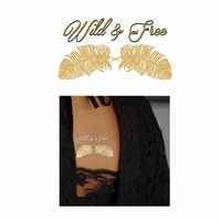 New Potatoo Temporary Tattoo Golden Wild and Free Feathers