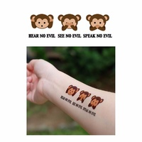 New Potatoo Temporary Tattoo Hear No Evil See No Evil Speak No Evil Monkeys