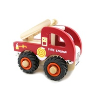 Kaper Kidz WOODEN FIRE ENGINE Rubber Wheels Brand New in Box