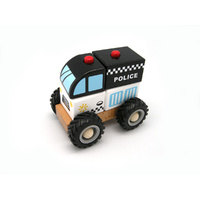 Kaper Kidz WOODEN BLOCK POLICE RUBBER WHEELS Brand New in Box
