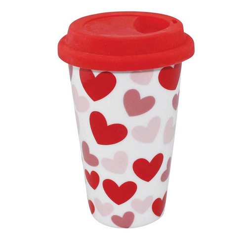 Porcelain Eco Mug eCup Double Insulated Hearts
