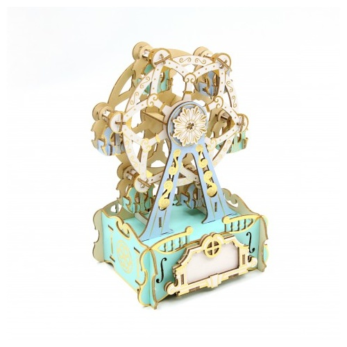 ki-gu-mi Plywood Puzzle Music Box Ferris Wheel Color Jigzle Wooden Art 3D Wooden Puzzle Kigumi NEW