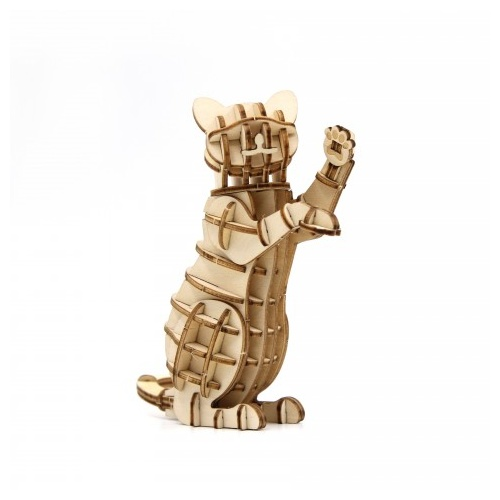 ki-gu-mi Plywood Jigzle Puzzle Standing Cat Kigumi Wooden Art 3D NEW