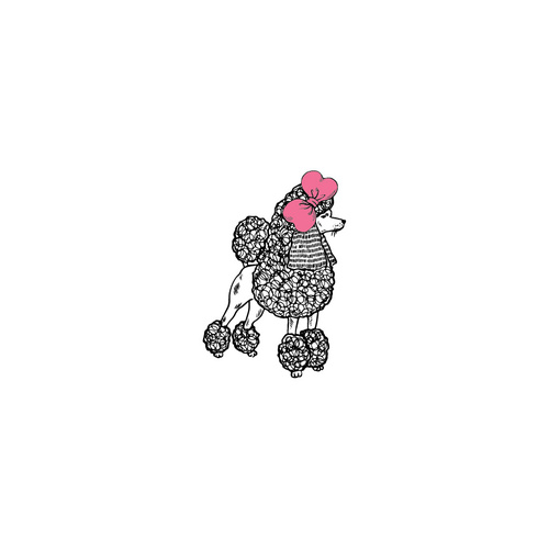 New Potatoo Temporary Tattoo POODLE PINK BOW