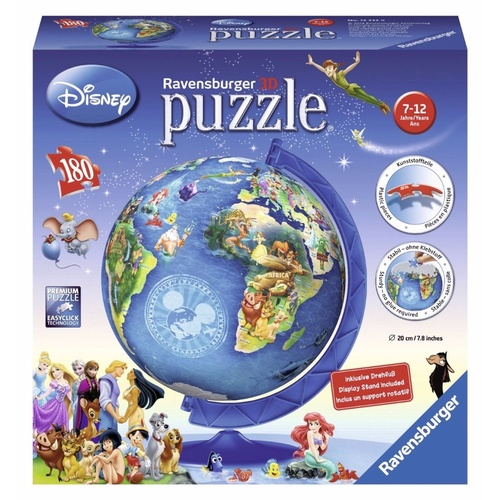 Ravensburger Disney Globe World Map 3D Puzzle Ball RB12333-9 180pc New