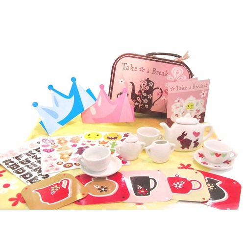 Kids Pretend Play Picnic Tea Set with Box 13 pieces Light Brown NEW