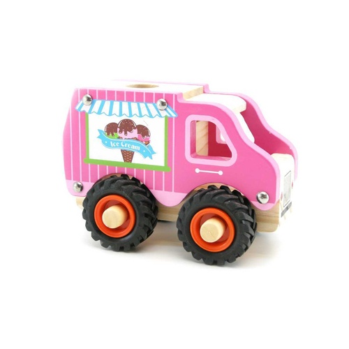 Kaper Kidz WOODEN ICE CREAM TRUCK Rubber Wheels Brand New in Box
